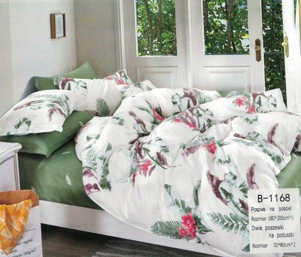 Biało - Zielona pościel Kwiaty B-1168