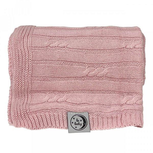 Różowy kocyk dla niemowląt 75x100 - czysta bawełna