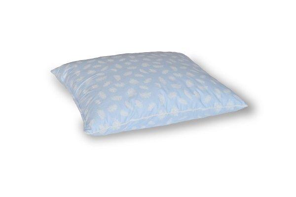 Poduszka z półpuchu 50x60 cm Niebieska w białe piórka Polpuch