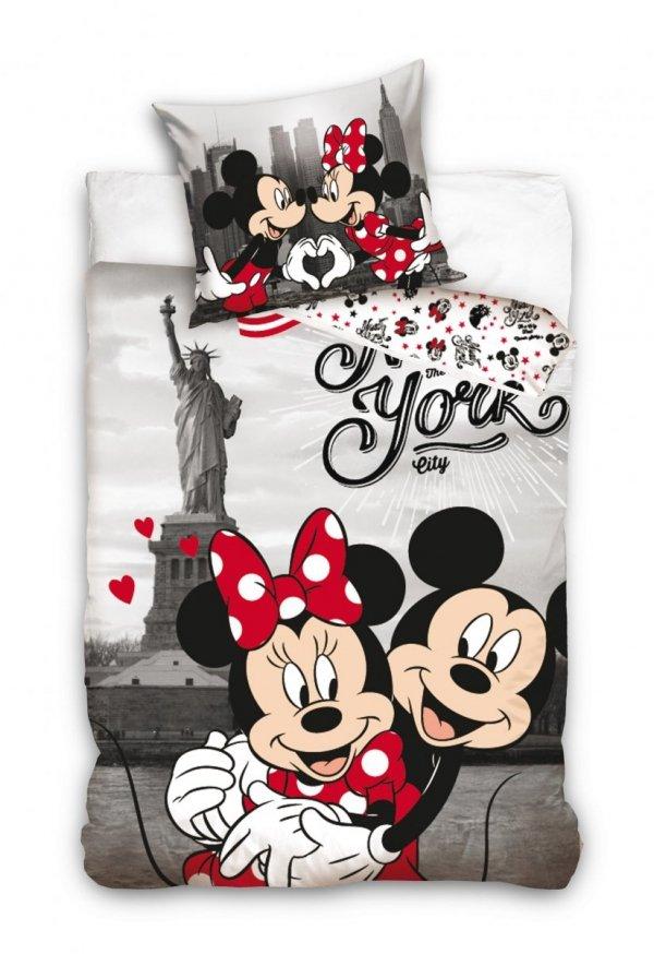 Szara pościel Nowy York Mickey Mouse - Myszka Miki 140x200 100% bawełma