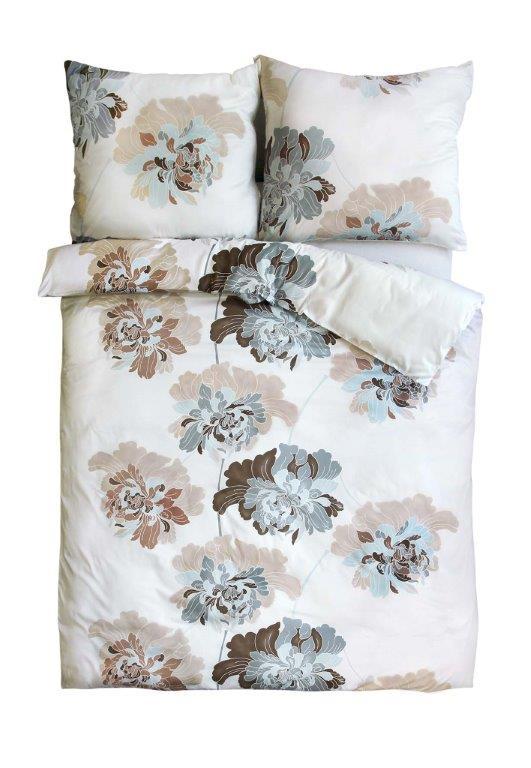 Pościel satynowa Andropol 160x200 szara - niebieska Biała - Brązowa w kwiaty wz 18 609/2