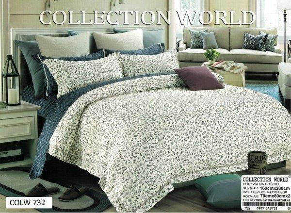 Pościel Collection World 160x200 cm wz 732 Ecru - Granatowa
