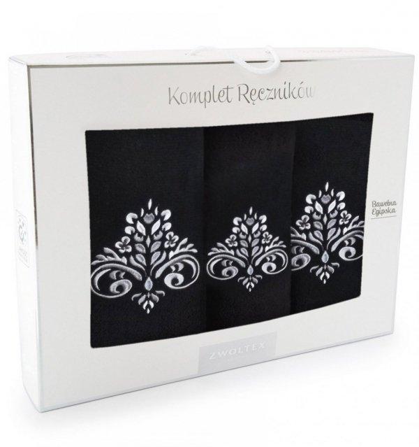 Komplet ręczników Zwoltex Sułtan Czarny- 3szt. 30x50 cm + 50x60cm + 70x130cm.