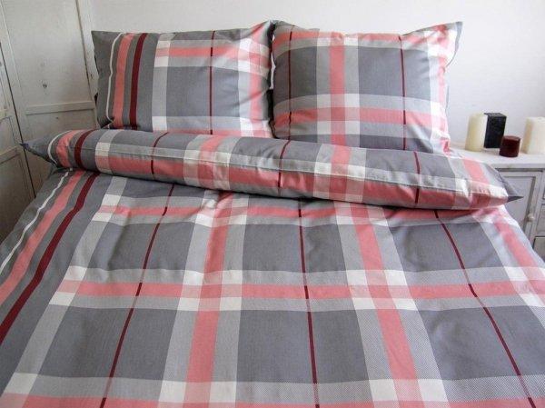 Pościel Satynowa Andropol 200x220 cm 100% bawełna Szaro Różowa