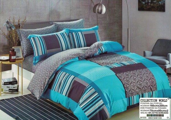 Szaro - Niebieska pościel Collection World 160x200 cm wz 1030