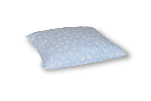 Poduszka 50x60 z piór dartych Niebieska w białe piórka