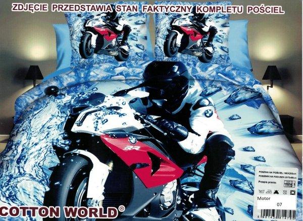 Pościel 3D 160x200 Motor Ścigacz BMW RR Cotton World