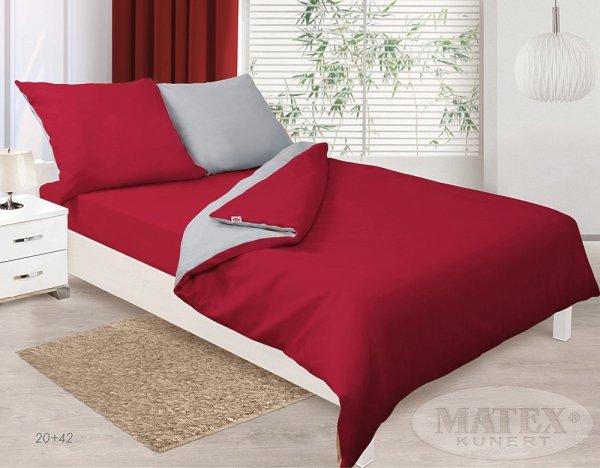 Szaro - Czerwona pościel z satyny 200x220 cm Matex 100% bawełna