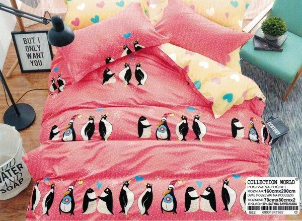 Pościel dla dzieci 160x200 Różowa w Pingwiny wz 882