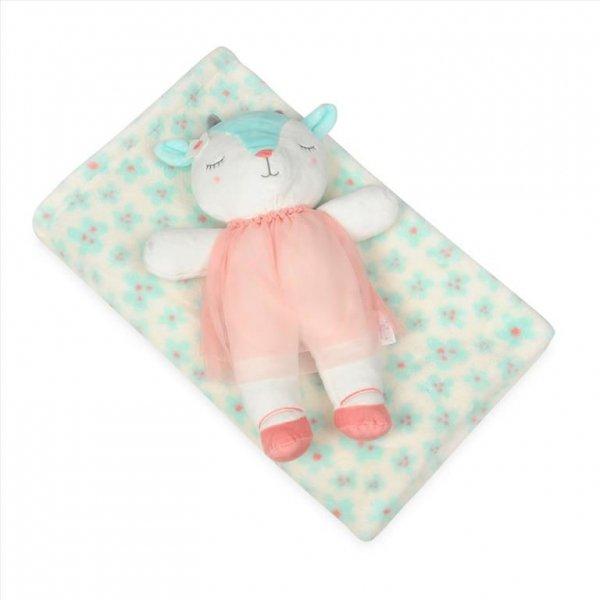 Kocyk dla niemowląt z maskotką Owieczka 75x100 c m