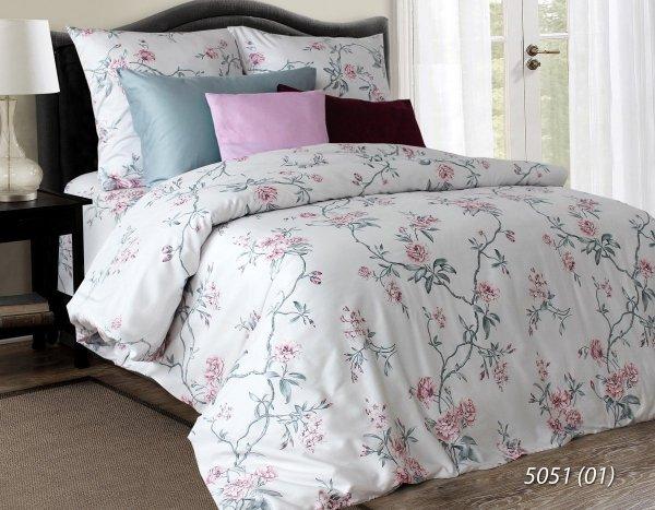 Satynowa pościel w kwiaty 200x220 Luxury 100% bawełna 5051-01