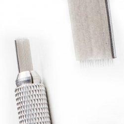 Pérka jehly pro microblading a pérkovou metodu, zlaté 12/14 Kovové pérko, méně pružné než pérko typu flex.