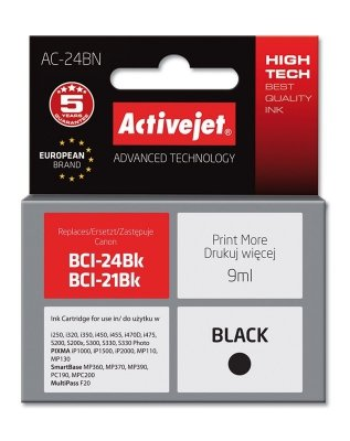 Tusz Activejet AC-24BN (zamiennik Canon BCI-24BK; Supreme; 9 ml; czarny)