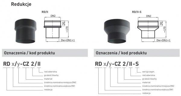 Redukcja zwiększająca z rury DN1 120mm