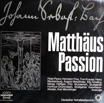 Johann Sebastian Bach, Stuttgarter Hymnuschorknaben, Stuttgarter Kammerorchester, Karl Münchinger - Matthäus Passion (2LP)