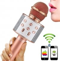 Mikrofon KARAOKE Głośnik Bluetooth GOLD ROSE Android IOS