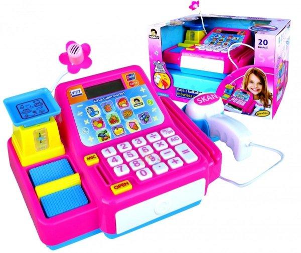 KASA SKLEPOWA Fiskalna z Kalkulatorem Skaner Róż
