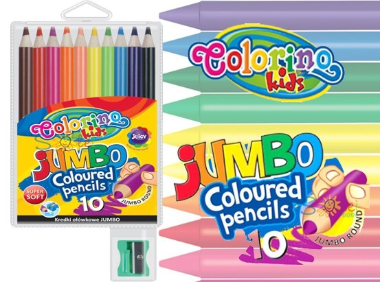 KREDKI Ołówkowe Grube 10 kolorów JUMBO 33091