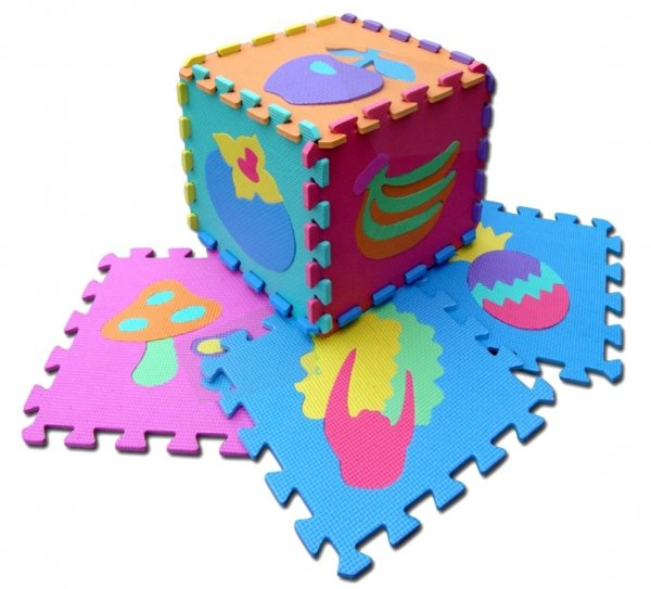 Puzzle PIANKOWE Mata Kształty OWOCE 29x29