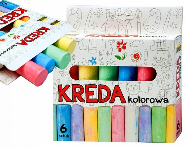 KREDA Kolorowa Niepyląca GRUBA Chodnikowa 6 Kolorów