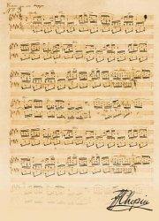 Teczka sepia z motywem nut i autografem Chopina
