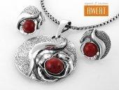 ROSE JASPER srebrny komplet biżuterii z kamieniami