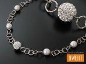 PECOS srebrny naszyjnik kryształy Swarovski i perły