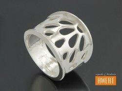 MEA srebrny duży ażurowy pierścień roz.17