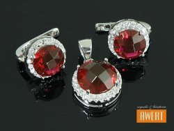 KATE srebrny komplet piękna czerwona cyrkonia