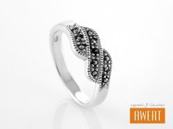 MAUKE MARCASITE srebrny pierścionek z markazytami roz. 19