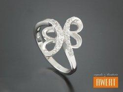 BASS CRYSTAL srebrny pierścionek z cyrkoniami roz. 17
