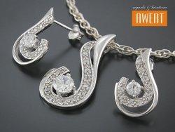FEURS CRYSTAL srebrny komplet biżuterii z cyrkoniami
