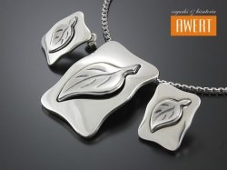 CLARA srebrny komplet motyw liść