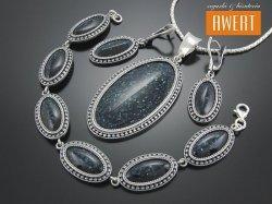 VERONA srebrny komplet biżuterii z awenturynem