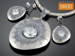 DOMINA DUO srebrny komplet z dużymi cyrkoniami