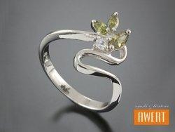 BAIONA CRYSTAL srebrny pierścionek z cyrkoniami roz. 18