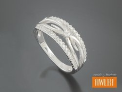 DALARNA CRYSTAL srebrny pierścionek z cyrkoniami roz. 16