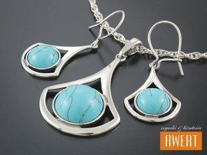 EREN TURQUOISE srebrny komplet biżuterii z kamieniami