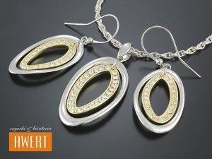 BERIT GOLD srebrny komplet biżuterii cyrkonie i złocenie
