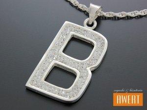 Literka B srebrny duży ~30 mm wisiorek kryształy Swarovski