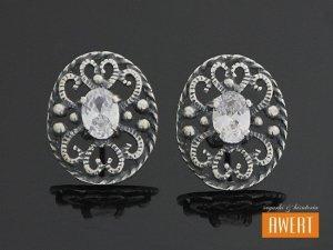 REBECA srebrne kolczyki z dużą cyrkonią