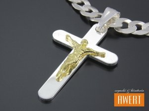 Krzyżyk srebrny z Jezusem pozłacany
