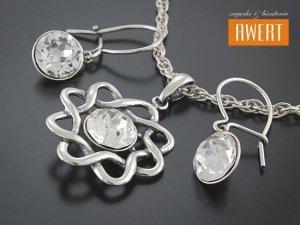 KAREN CRYSTAL srebrny komplet biżuterii kryształy Swarovski