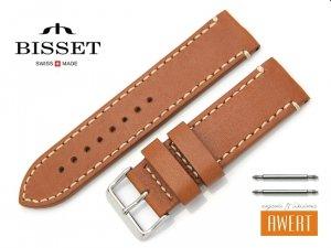 BISSET 24 mm XL pasek skórzany BS126 brązowy