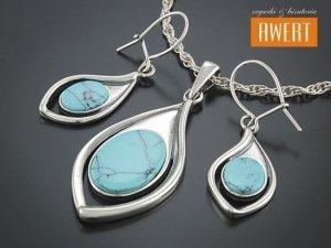 CELLE TURQUOISE srebrny komplet biżuterii z kamieniami