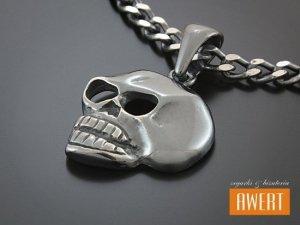 SKULL BLACK srebrna zawieszka