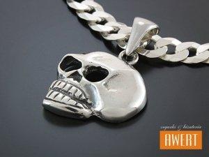 SKULL WHITE srebrna zawieszka