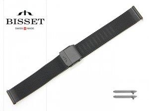 BISSET 16 mm bransoleta stalowa mesh BM101 czarna