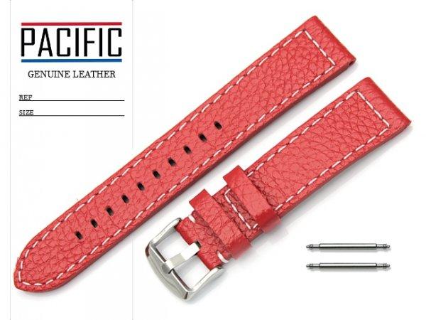 PACIFIC 20 mm pasek skórzany W45 czerwony