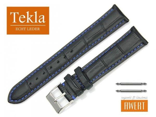 TEKLA 18 mm pasek skórzany PT41 niebieskie szycie